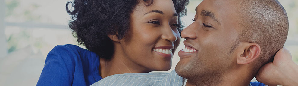 Young African-American couple smiling