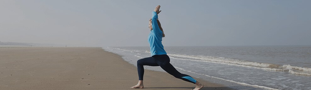 Stretching at the beach