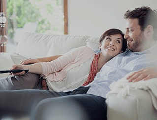 Couple enjoying watching tv