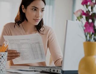 Woman looking at budget